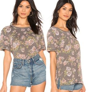 Free People Revolve Tourist Floral Tee Black Small